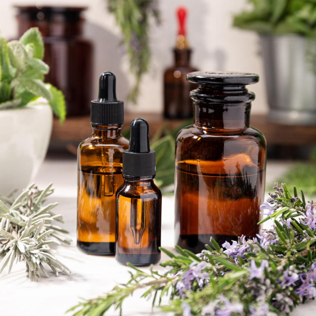 amber apothecary bottles with herbs