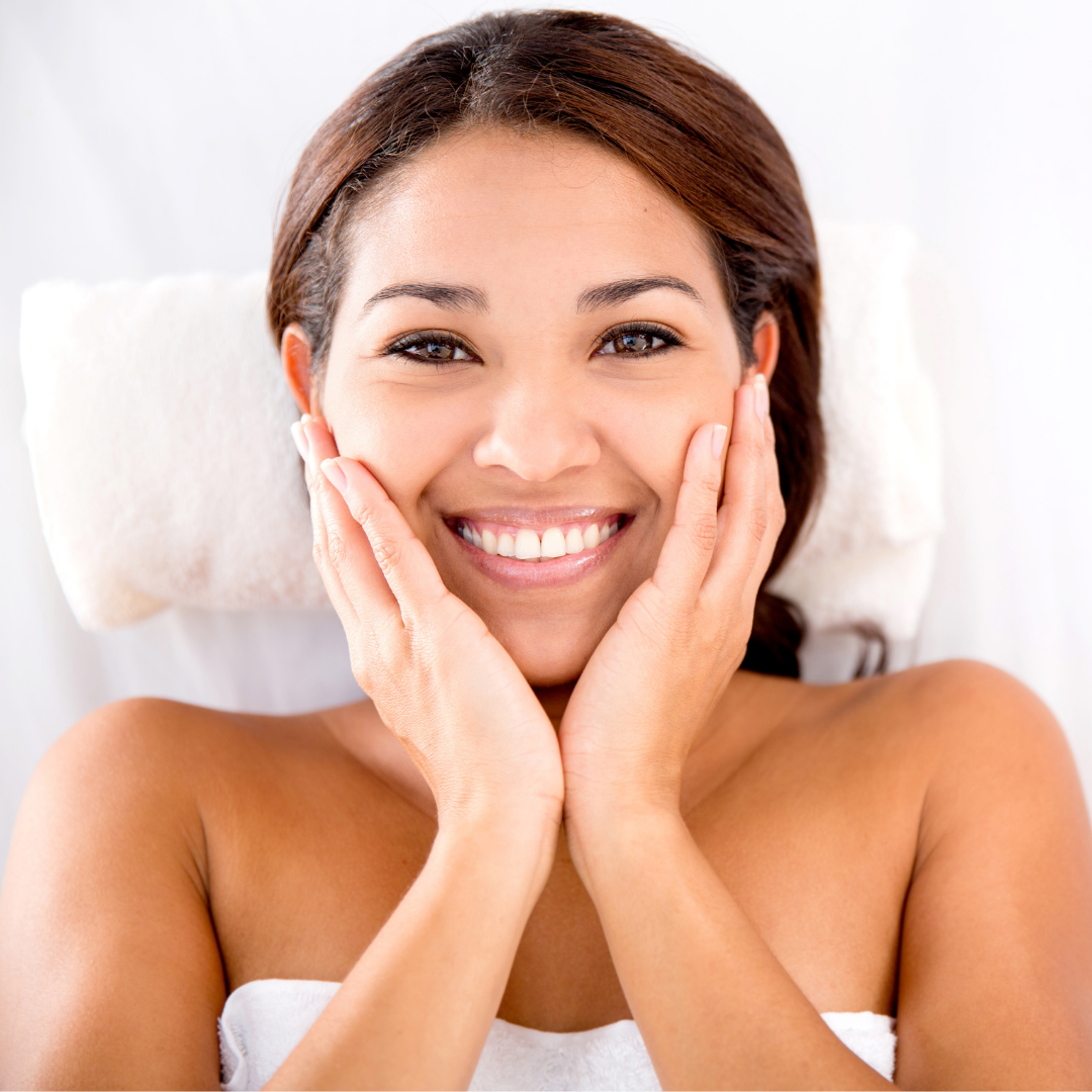 smiling woman clear skin